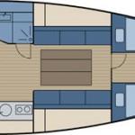 """Riss der Varianta44 """"Blow Me"""" Yachtcharter in Stralsund"""